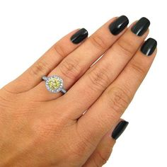 Noori Certified 14k White Gold 1 3/4ct TDW Canary Yellow Round Diamond Halo Engagement Ring (SI1-SI2)