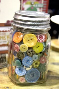Buttons and More Buttons / Saving them in a canning jar, makes them decor.