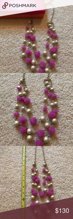 Kate Spade Pearl and Pink Statement necklace Kate Spade Gold with Pearl & Pink Statement necklace. So Pretty! kate spade Jewelry Necklaces