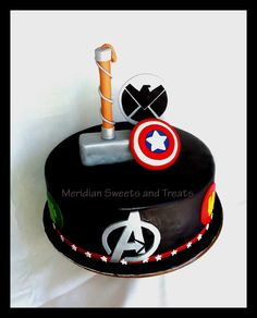 """Avengers Groom's Cake made by """"Meridian Sweets and Treats. Firefighter Grooms Cake, Camo Grooms Cake, Alabama Grooms Cake, Chocolate Grooms Cake, Groom Cake, Avenger Cupcakes, Avenger Cake, Avengers Birthday Cakes, Birthday Cakes For Men"""