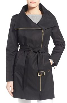 MICHAEL Michael Kors Asymmetrical Zip Short Trench Coat