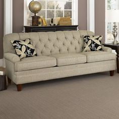 Charles Schneider Fischer Linen Sofa With Precious Ebony Pillows  Contemporary Sofas