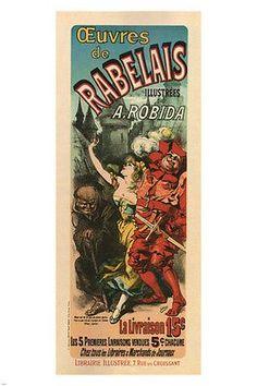 Works of Rabelais VINTAGE AD POSTER Jules Chéret France 1895 24X36 Rare
