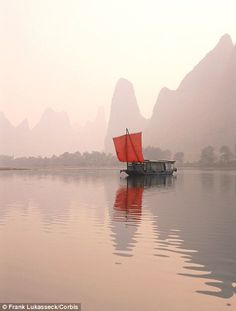 Junk Boat on Misty Li River Guilin This is how I picture China.