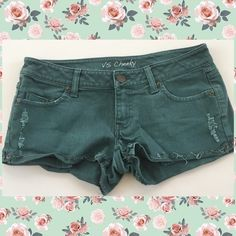 Vs cheeky teal green short shorts size 4 Cute cheeky super short shorts, size 4. These have some fading and softening and snap has wear- see photos- but good condition otherwise! Victoria's Secret Shorts Jean Shorts