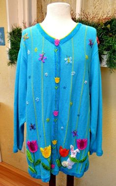 Quacker Factory 1X Plus Easter Cardigan Sweater Turquoise/Multi Bunny Tulips #QuackerFactory #Cardigan #Casual