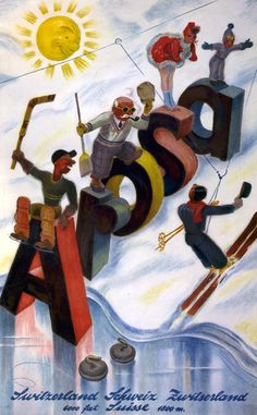 A 1938 promotional poster showing the many types of winter sports available in Arosa, Switzerland. Notice the old school ski lift!