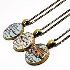Custom map keychain you select location anywhere in the world one custom map necklace you select location by brassandchain on etsy gifts gumiabroncs Gallery