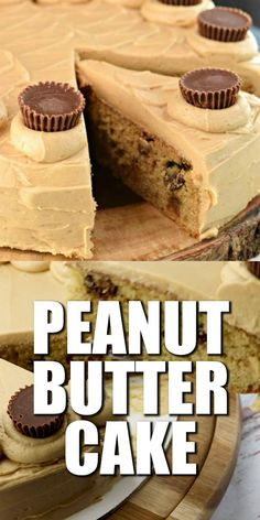 This easy Reese's Peanut Butter Cake is so moist and delicious. The peanut butter frosting is fluffy and creamy. You can whip this up for the peanut butter lovers in your life and they will love you forever. Best Peanut Butter, Peanut Butter Desserts, Peanut Butter Frosting, Peanut Butter Cookie Recipe, Reeses Peanut Butter, Peanut Butter Birthday Cake, Food Cakes, Cupcake Cakes, Cupcakes