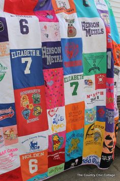 Making a Quilt out of Tshirts for Graduation ~ * THE COUNTRY CHIC COTTAGE (DIY, Home Decor, Crafts, Farmhouse)