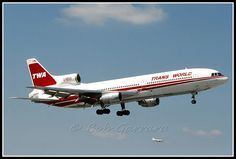 N31024 Trans World Airlines - TWA    Lockheed L-1011-385-1 TriStar 50 (cn 193B-1091) Seen on final for 9R at MIA in March, 1984.