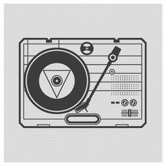 record player line art