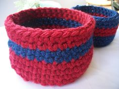 Nesting baskets crocheted thick blue and red by ThePeacefulHeart, $20.00