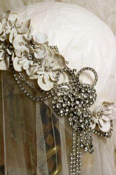 Antique Irish Crochet & Vintage Diamante Headpiece