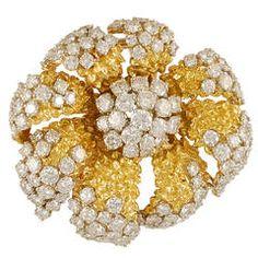 Van Cleef & Arpels Diamond Gold Flower Brooch http://www.blamehelenabooks.com