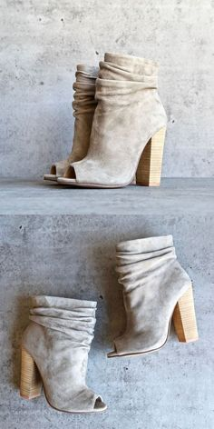 FIT: RUNS ABOUT HALF SIZE SMALL FOR BEING A HEEL/OPEN TOE BOOTIE. Rich suede upper with open toe and ruched collar. Man-made lining. Lightly cushioned man-made footbed. Stacked heel. Man-made sole. Imported. Measurements: Heel Height: 3 3?4 in Weight: 11 oz Circumference: 11 3?4 in Shaft: 6 3?4 in Platform Height: 1?4 in * Read more details by clicking on the image. #ladiesshoes