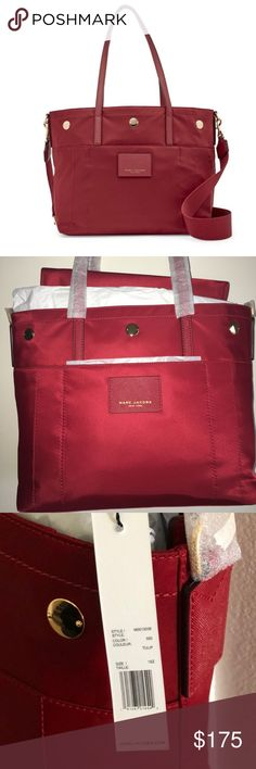 NWT Marc by Marc Jacobs Red Nylon tote/baby bag See photo for description Orig price 325 Priced considerably less here Marc By Marc Jacobs Bags Totes
