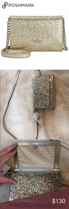 Kate spade gold glitter bug cross body NWT Adorable Kate spade crossbody in gold glitter bug print. Perfect for nights out! NWT kate spade Bags Crossbody Bags