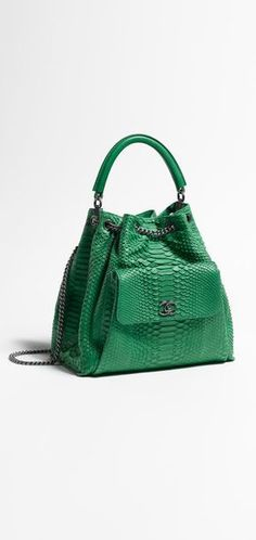 Drawstring bag, emerald green python & lambskin-green - CHANEL Women's Bags and Purses #chanel #leather #bags