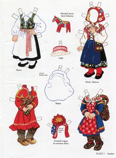 book - libro - scandinavian girl and boy - paper doll - sweden Frugal Christmas, Christmas Crafts, Paper Art, Paper Crafts, Art Origami, Swedish Girls, Reindeer Craft, Folk Clothing, Thinking Day
