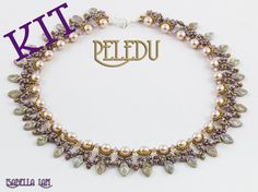 PELEDU Amazing D.I.Y Pearls, Czech Leaves and SuperDuo Beadwork Necklace KIT