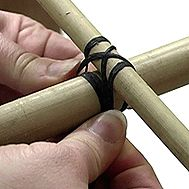 How to wrap waxed lashing for a bamboo trellis.