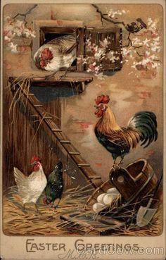 Rooster and Chickens in a Henhouse -- Gallo y gallinas en un gallinero Decoupage Vintage, Decoupage Paper, Rooster Art, Rooster Decor, Chicken Painting, Chicken Art, Vintage Cards, Vintage Postcards, Arte Do Galo