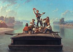 The Jolly Flatboatmen Artist: George Caleb Bingham (American, Augusta County, Virginia 1811–1879 Kansas City, Missouri) Date: 1877-78 Culture: American Medium: Oil on canvas Dimensions: 26 3/16 × 36 3/8 in. (66.5 × 92.4 cm) Framed: 35 5/16 × 45 1/4 in. (89.7 × 114.9 cm) Classification: Paintings Credit Line: Terra Foundation for American Art, Chicago,