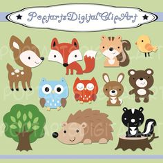 Woodland Animals Colors - Clip Art Digital Files - 12 images