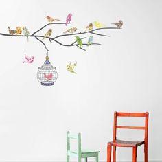 Decowall DW-1202, 14 uccelli e Cage adesivi da parete | wall stickers | adesivi da parete | muro del tatuaggio | Decorazione murale | decalcomania della parete: Amazon.it: Prima infanzia