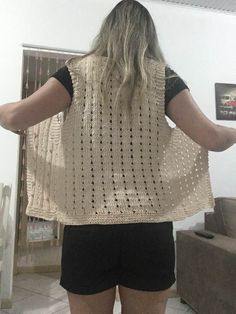 Colete de Verão Crochet Double, Crochet Top, Crochet Projects, Knitting Patterns, Pullover, Blanket, Sweaters, Women, Poncho