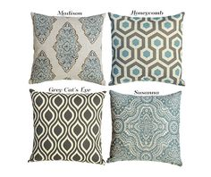 blue decorative pillows for couch sofa pillow cover 7 sizes 16x16 18x18 20x20 on etsy