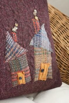Sweater pillow with houses