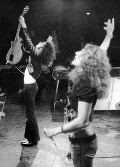 Robert Plant and Jimmy Page performing during a Led Zeppelin show - 1973 Jimmy Page, Pink Floyd, Great Bands, Cool Bands, Almost Famous Quotes, Robert Plant Led Zeppelin, John Paul Jones, John Bonham, Greatest Rock Bands