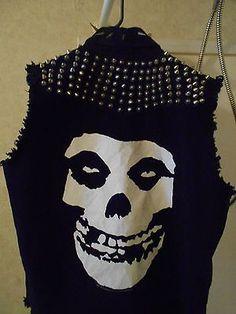 misfits fiend skull diy punk jacket vest shirt studded custom size xl gg allin