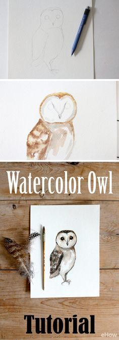 Easily-to-follow watercolor owl tutorial! Use basic techniques to create this wonderful paimting of an owl. http://www.ehow.com/how_12342975_diy-owl-watercolor-painting.html?utm_source=pinterest.com&utm_medium=referral&utm_content=freestyle&utm_campaign=fanpage