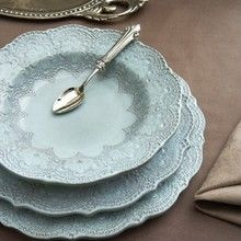 Arte Italica Merletto Aqua Dinnerware (The pattern is inspired by handmade, antique Italian lace that is hand-pressed into the ceramic prior to the application of the glaze.)  now i just need an actual use for formal dinnerware.