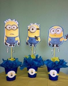 Customize your minion centerpiece to your childs age or name. The centerpiece measures 15 height, Choose between Kevin, Minion Party Theme, Minion Birthday, Kids Party Themes, Third Birthday, 4th Birthday Parties, Baby Birthday, Party Ideas, Birthday Ideas, Minion Centerpieces