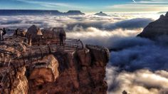 """The Grand Canyon Filled With Clouds by Erin Whittaker via  io9:SEXPAND The Canyon came to be filled with fog due to what's known as a """"temperature inversion,"""" a phenomenon whereby warm and cool air (which typically reside at lower and higher altitudes, respectively) swap places.  #Grand_Canyon #Clouds"""