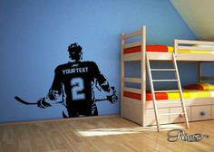Wall art Custom Large ice Hockey Player choose jersey name and numbers Vinyl wall Decal sticker decor crosby toews kids bedroom sports bar Hockey Bedroom, Kids Bedroom, Bedroom Wall, Hockey Decor, Ice Hockey Players, Man Cave Home Bar, Wall Decal Sticker, Wall Stickers, Vinyl Decals