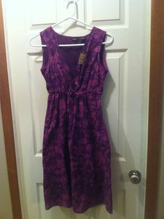 NWT Eddie Bauer Sleeveless Drawstring Dress Purple Iris Size 6 Retail $79.95  #EddieBauer #Sundress #Casual