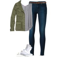 Army Green jacket, Striped top & Chucks by steffiestaffie on Polyvore featuring Organic by John Patrick, Madewell, J Brand, Converse, Mikimoto and Maison Boinet
