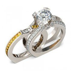 Brilliant Cut Created White Sapphire with Topaz Sidestone Two-in-One Sterling Silver Engagement Ring / Bridal Ring Set