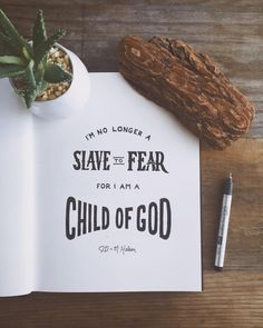 """godsfingerprints:  """"For you did not receive a spirit that makes you a slave again to fear, but you received the Spirit of sonship. And by him we cry, """"Abba, Father."""" The Spirit himself testifies with our spirit that we are God's children.""""  - Romans 8:15-16  // Been so blessed by the songwriting of @jonathanhelser and @mphelser. So many tears of joy and praise have been shed while listening to their music. These are the lyrics of one of our favorite songs by them, 'No Longer Slaves'."""