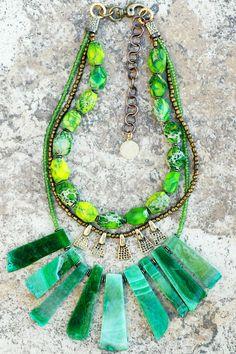Necklace | Green | Fringe | Fan | Agate | Bronze | Statement | XO Gallery
