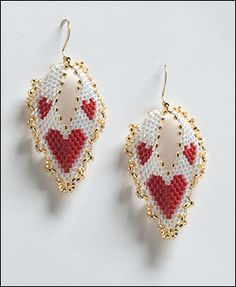 Hearts Russian Leaf Earrings Beading Tutorial by Barbara Henthorn at Bead-Patterns.com