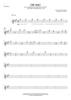 Chi Mai sheet music by Ennio Morricone And His Orchestra. From album Maddalena (Original Motion Picture Soundtrack) (2011). Part: Notes for guitar - guitar 1 part.