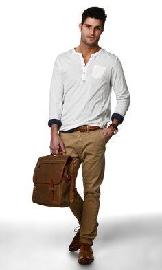 #men #khaki #casual #t-shirt