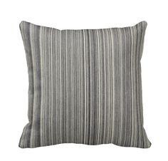 Railroad Stripe Denim Throw Pillow Cover by PrimalVogueHomeDecor