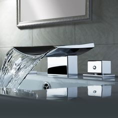Color Changing LED Waterfall Widespread Bathroom Sink Faucet (Chrome Finish) Anybody can develop a home sweet residence, even when the price. Bathroom Sink Faucets, Bathroom Fixtures, Bathroom Storage, Bathroom Cabinets, Bathroom Organization, Steam Showers Bathroom, Small Bathroom, Bathroom Ideas, Brown Bathroom